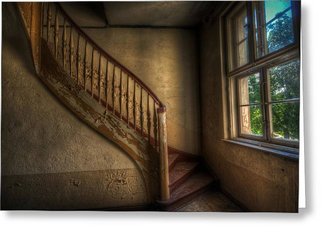 Wooden Stairs Greeting Cards - Steps in a curve Greeting Card by Nathan Wright