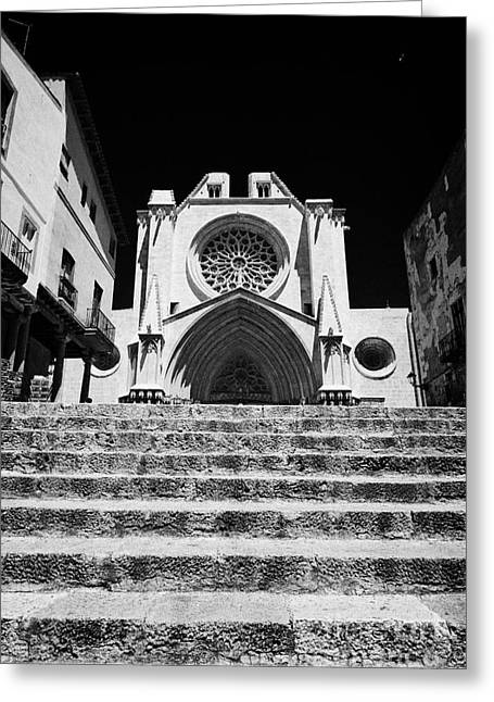 Front Steps Greeting Cards - Steps Leading Up To Facade Of Tarragona Cathedral Catalonia Spain Greeting Card by Joe Fox