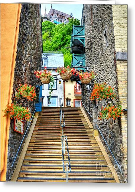 Chateau Greeting Cards - Steps Of Old Quebec Greeting Card by Mel Steinhauer