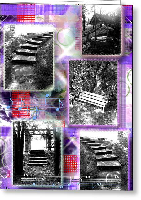 Purplered Greeting Cards - Steps Single PurpleRed Greeting Card by Daniels Aesthetics