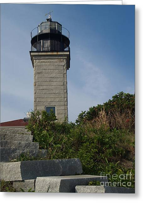 Keepers House Greeting Cards - Steps to Beavertail Light Greeting Card by Anna Lisa Yoder