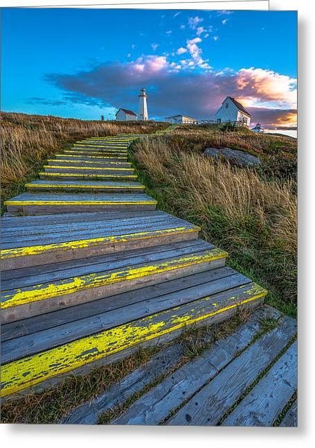Lighthouse Greeting Cards - Steps to Cape Spear Greeting Card by Gord Follett