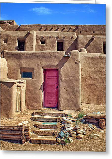 Native American Dwellings Greeting Cards - Steps to Red Door - Taos Pueblo Greeting Card by Nikolyn McDonald