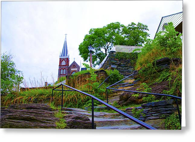 Harpers Ferry Digital Greeting Cards - Steps to St. Peters Church - Harpers Ferry Greeting Card by Bill Cannon