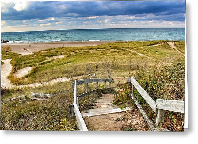 Beach Sand Birds Flying Clouds Sun Sky Trees Grass Building Day Beautiful Wings Flock Greeting Cards - Steps To The Beach Greeting Card by Paul Szakacs