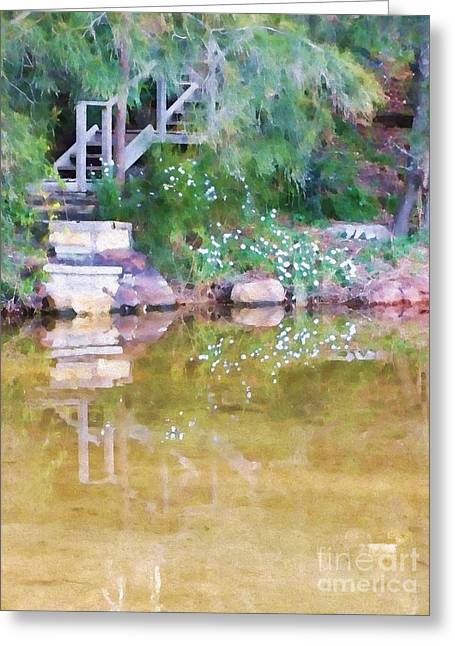 Pretty Scenes Greeting Cards - Steps to the Lake Greeting Card by Kaye Menner