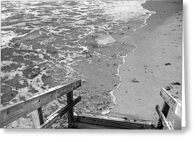Ocean Shore Greeting Cards - Steps to the Sea Greeting Card by Michelle Wiarda