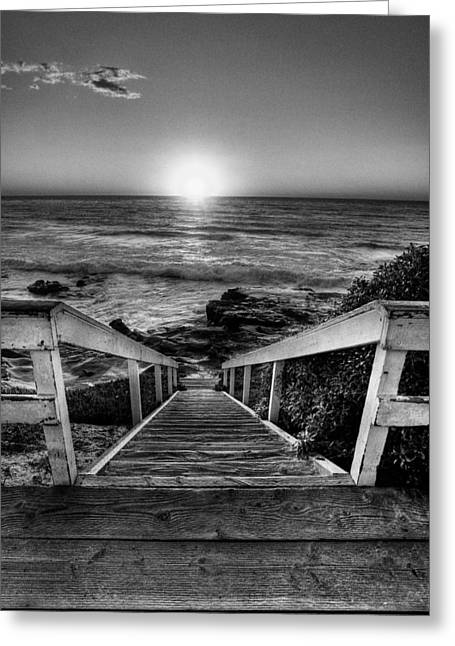 La Jolla Art Greeting Cards - Steps to the Sun  Black and White Greeting Card by Peter Tellone