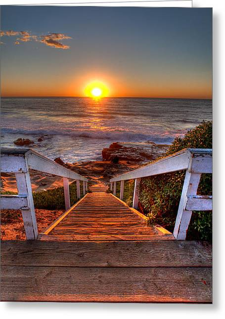 Beach Art Greeting Cards - Steps to the Sun  Greeting Card by Peter Tellone