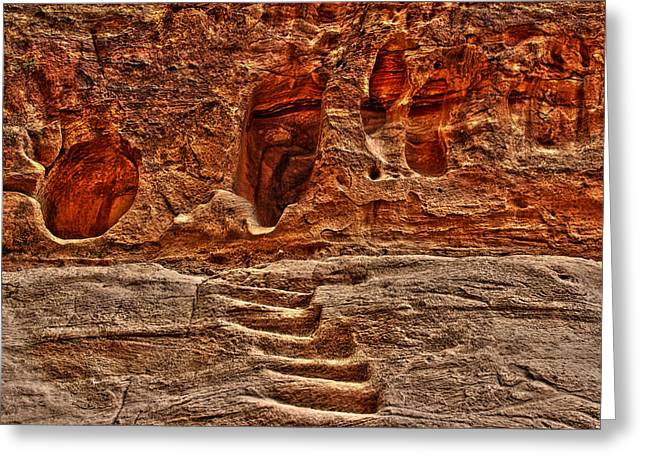 Petra Greeting Cards - Steps to the tombs. Greeting Card by Vladimir Rayzman