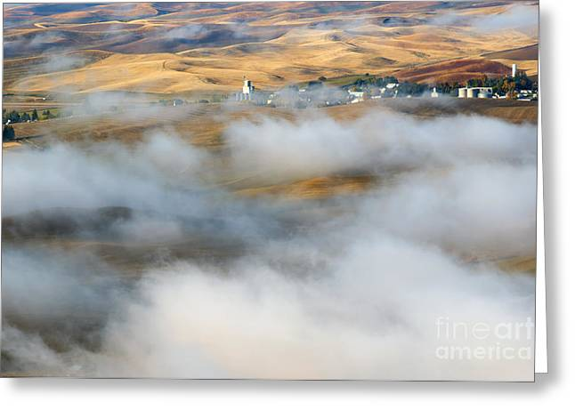 Scenic Farm Greeting Cards - Steptoe Fog Clearing Greeting Card by Mike  Dawson