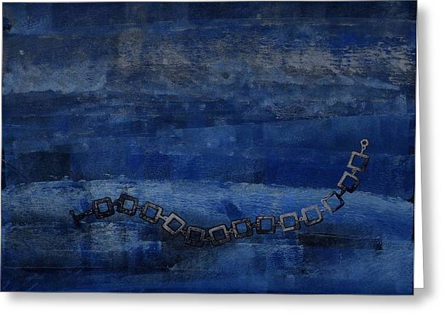 Blue Abstracts Reliefs Greeting Cards - Sterling Silver Greeting Card by Theresa Khong