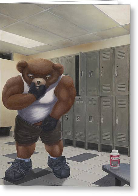 Sweat Mixed Media Greeting Cards - Steroid Teddy Greeting Card by Preston Craig