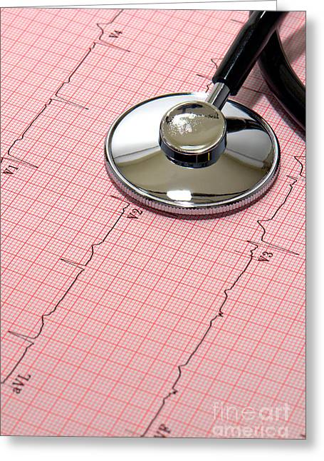 Result Greeting Cards - Stethoscope over EKG Greeting Card by Olivier Le Queinec