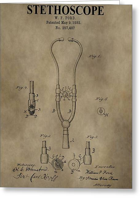 Medication Drawings Greeting Cards - Stethoscope Patent Greeting Card by Dan Sproul