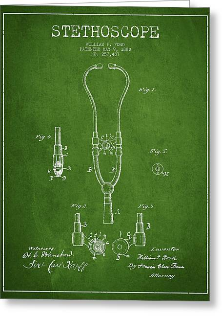 Medical Greeting Cards - Stethoscope Patent Drawing From 1882 - Green Greeting Card by Aged Pixel
