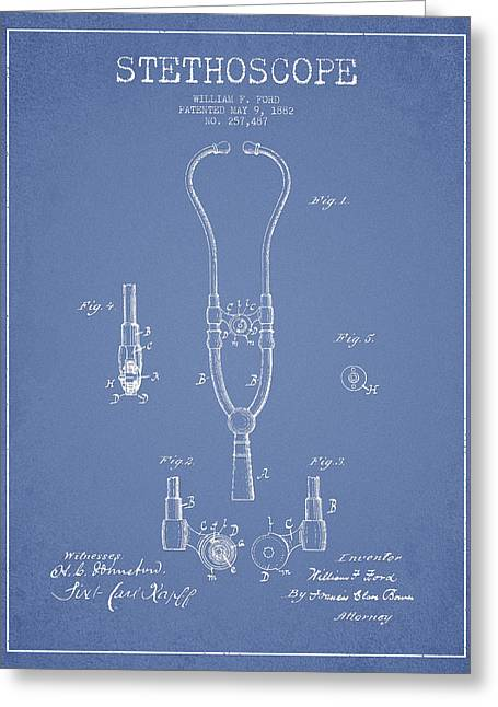 Stethoscope Greeting Cards - Stethoscope Patent Drawing From 1882 - Light Blue Greeting Card by Aged Pixel
