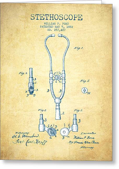 Stethoscope Greeting Cards - Stethoscope Patent Drawing From 1882 - Vintage Paper Greeting Card by Aged Pixel
