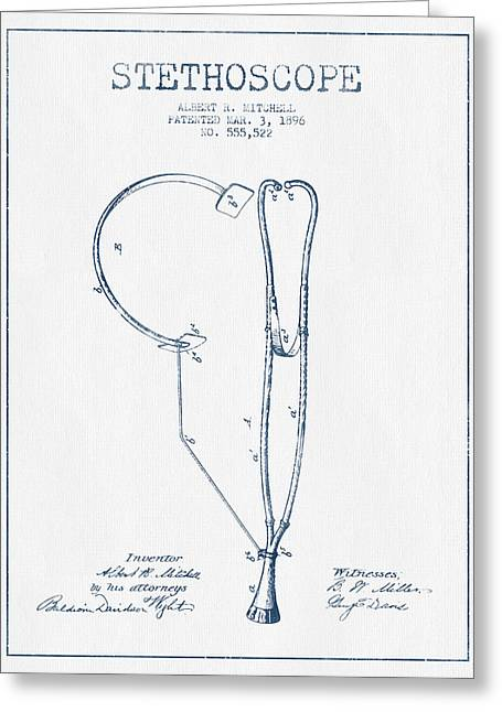 Medical Greeting Cards - Stethoscope Patent Drawing From 1896 - Blue Ink Greeting Card by Aged Pixel