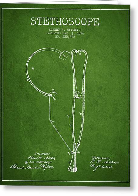 Medical Greeting Cards - Stethoscope Patent Drawing From 1896- Green Greeting Card by Aged Pixel