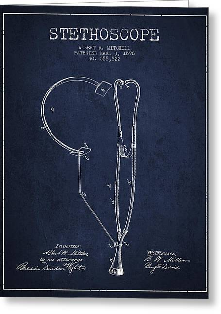 Stethoscope Greeting Cards - Stethoscope Patent Drawing From 1896- Navy Blue Greeting Card by Aged Pixel