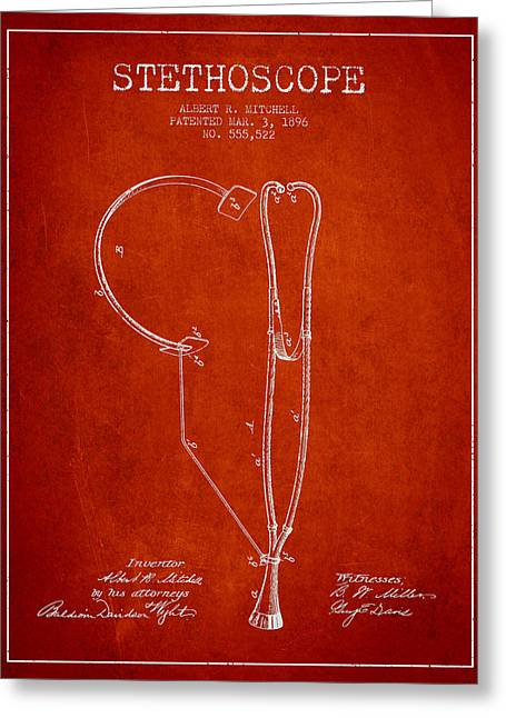 Stethoscope Greeting Cards - Stethoscope Patent Drawing From 1896- Red Greeting Card by Aged Pixel