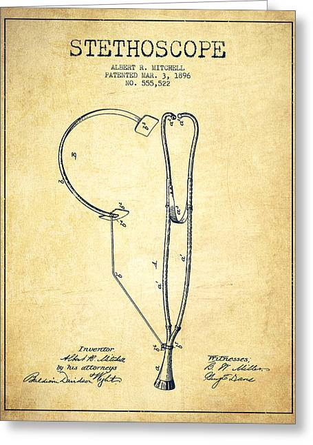 Medical Greeting Cards - Stethoscope Patent Drawing From 1896- Vintage Greeting Card by Aged Pixel