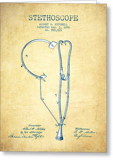 Stethoscope Greeting Cards - Stethoscope Patent Drawing From 1896- Vintage Paper Greeting Card by Aged Pixel