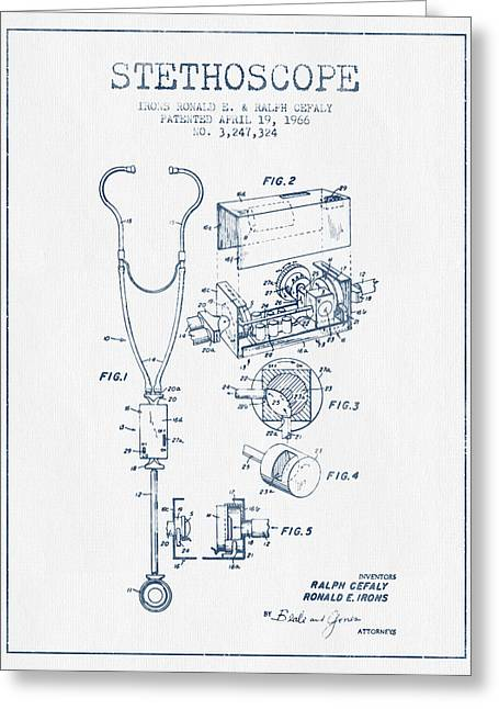 Device Greeting Cards - Stethoscope Patent Drawing From 1966 - Blue Ink Greeting Card by Aged Pixel
