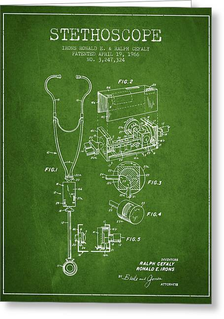 Device Greeting Cards - Stethoscope Patent Drawing From 1966- Green Greeting Card by Aged Pixel