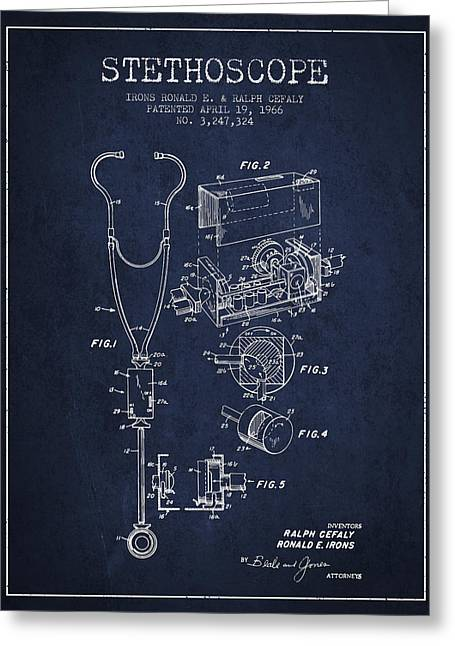 Stethoscope Greeting Cards - Stethoscope Patent Drawing From 1966- Navy Blue Greeting Card by Aged Pixel