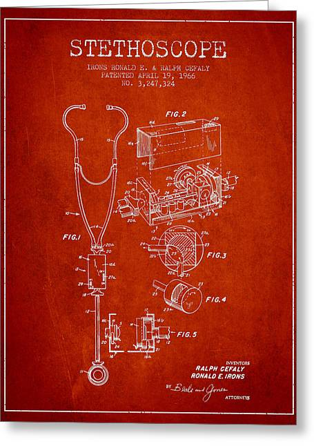 Stethoscope Greeting Cards - Stethoscope Patent Drawing From 1966- Red Greeting Card by Aged Pixel