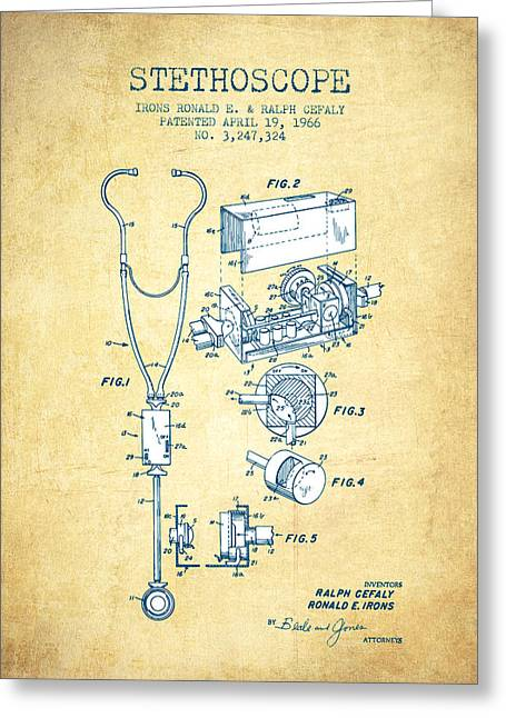 Stethoscope Greeting Cards - Stethoscope Patent Drawing From 1966- Vintage Paper Greeting Card by Aged Pixel