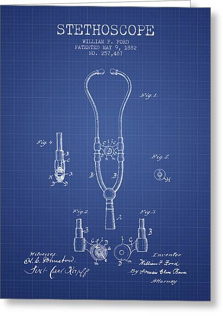 Stethoscope Greeting Cards - Stethoscope Patent From 1882 - Blueprint Greeting Card by Aged Pixel