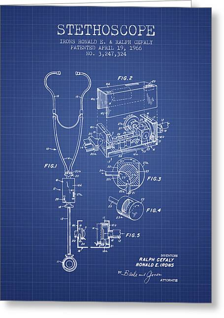 Medical Greeting Cards - Stethoscope Patent From 1966 - Blueprint Greeting Card by Aged Pixel