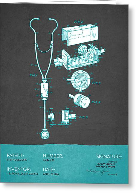 Stethoscope Greeting Cards - Stethoscope Patent From 1966 - Gray Turquoise Greeting Card by Aged Pixel