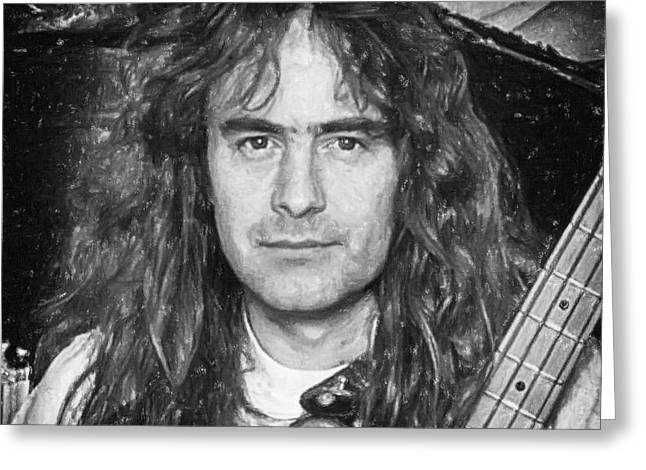 Iron Maiden Greeting Cards - Steve Harris Greeting Card by Antony McAulay