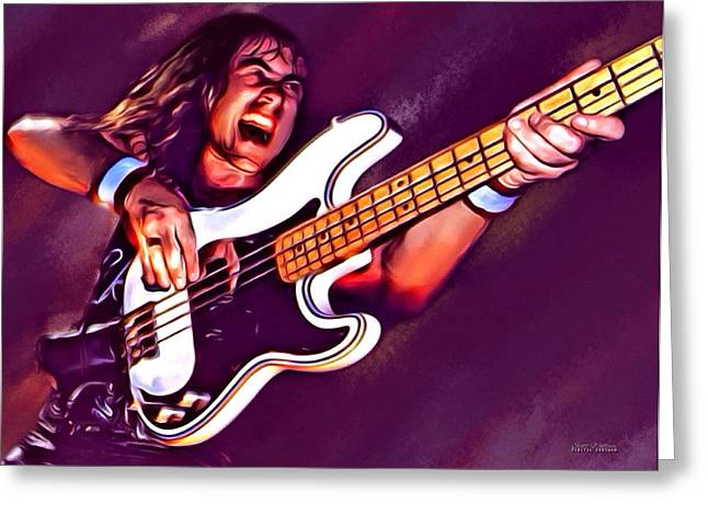 Iron Maiden Greeting Cards - Steve Harris Portrait Greeting Card by Scott Wallace