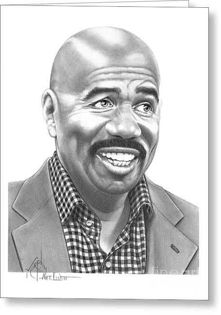 Pencil Drawing Greeting Cards - Steve Harvey Greeting Card by Murphy Elliott