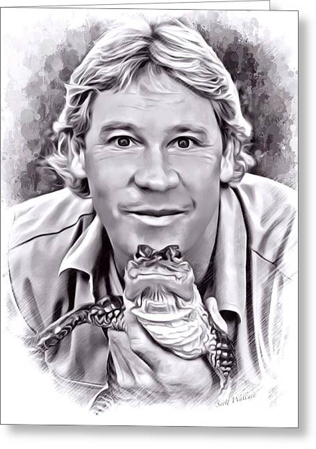 Digital Designs Greeting Cards - Steve Irwin Sketch Greeting Card by Scott Wallace