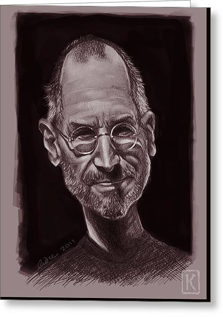 Wacom Greeting Cards - Steve Jobs Greeting Card by Andre Koekemoer