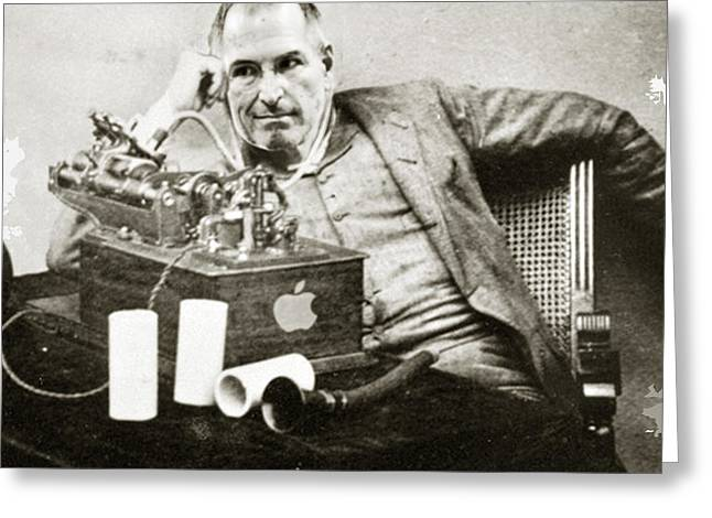 Famous Photographer Mixed Media Greeting Cards - Steve Jobs As Edison Greeting Card by Tony Rubino