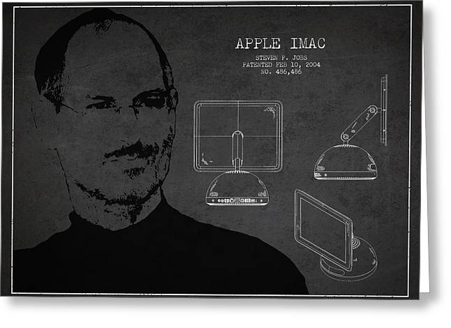 Macintosh Greeting Cards - Steve Jobs Imac  Patent - Dark Greeting Card by Aged Pixel