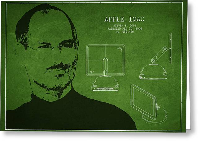 Macintosh Greeting Cards - Steve Jobs Imac  Patent - Green Greeting Card by Aged Pixel
