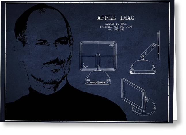 Macintosh Greeting Cards - Steve Jobs Imac  Patent - Navy Blue Greeting Card by Aged Pixel