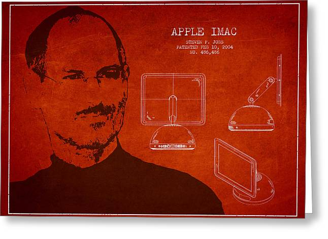 Macintosh Greeting Cards - Steve Jobs Imac  Patent - Red Greeting Card by Aged Pixel