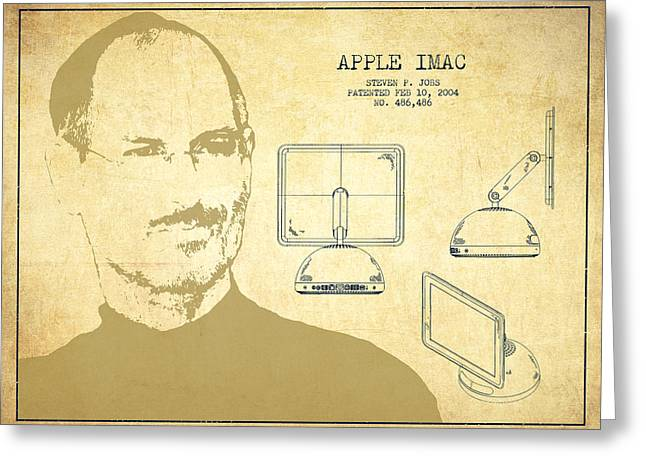 Macintosh Greeting Cards - Steve Jobs Imac  Patent - Vintage Greeting Card by Aged Pixel