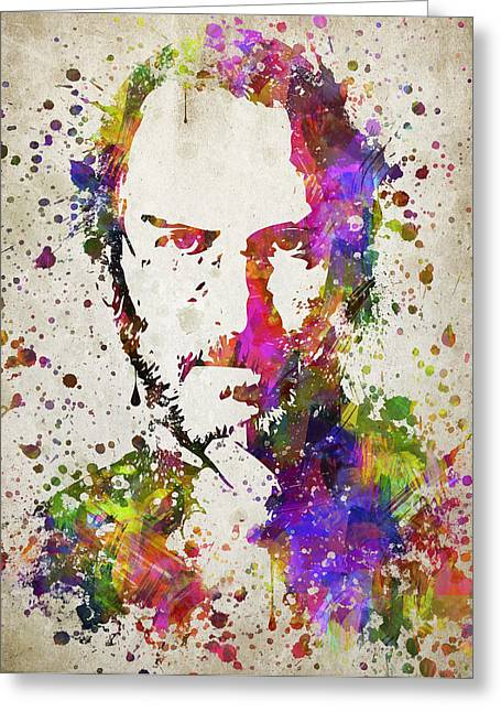 Macintosh Greeting Cards - Steve Jobs in Color Greeting Card by Aged Pixel