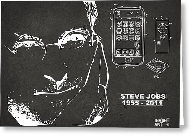 Innovative Greeting Cards - Steve Jobs iPhone Patent Artwork Gray Greeting Card by Nikki Marie Smith
