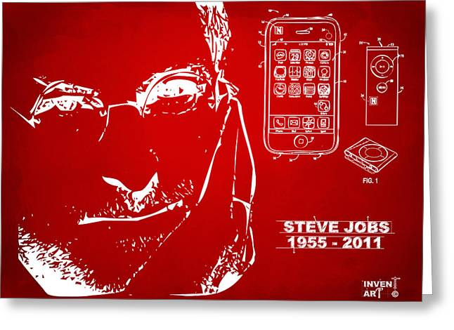 Innovative Greeting Cards - Steve Jobs iPhone Patent Artwork Red Greeting Card by Nikki Marie Smith